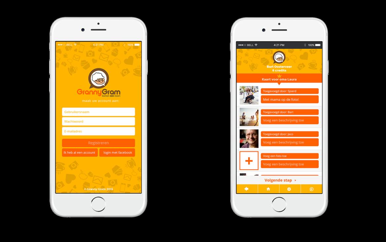 GrannyGram - screen aplikacji mobilnej 1